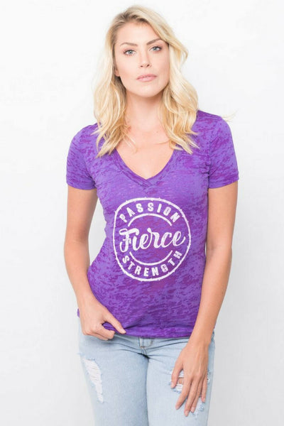 PEBBLE + ROSE Fierce T Shirt in deep purple burnout fabric shown on model catalog shot