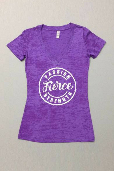 PEBBLE + ROSE Fierce T Shirt in deep purple burnout fabric shown flat on grey background
