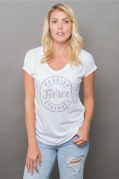 PEBBLE + ROSE's feminist Fierce T Shirt in white shown on model, catalog shot