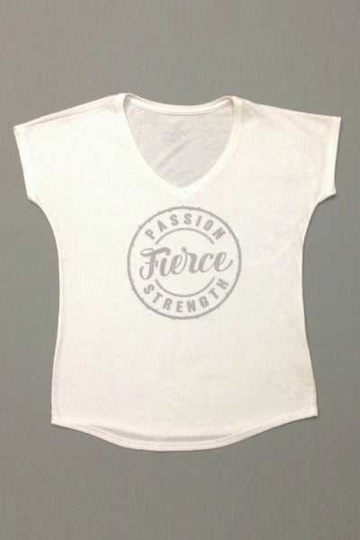 PEBBLE + ROSE's feminist Fierce T Shirt in white shown flat on grey backgound