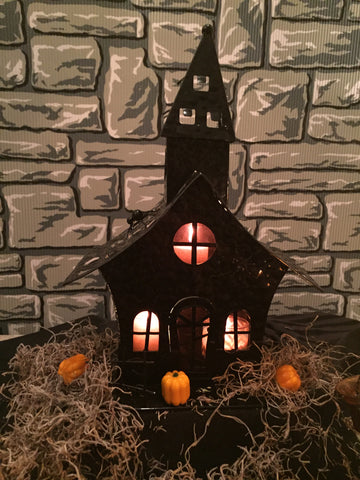 """Purple Haze Halloween Shack"" Halloween tea light holder"