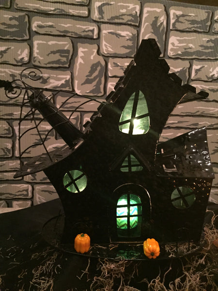"""Salem Witch's Cottage"" Halloween tea light holder"