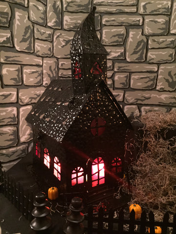 """Devil's Church"" Halloween tea light holder"