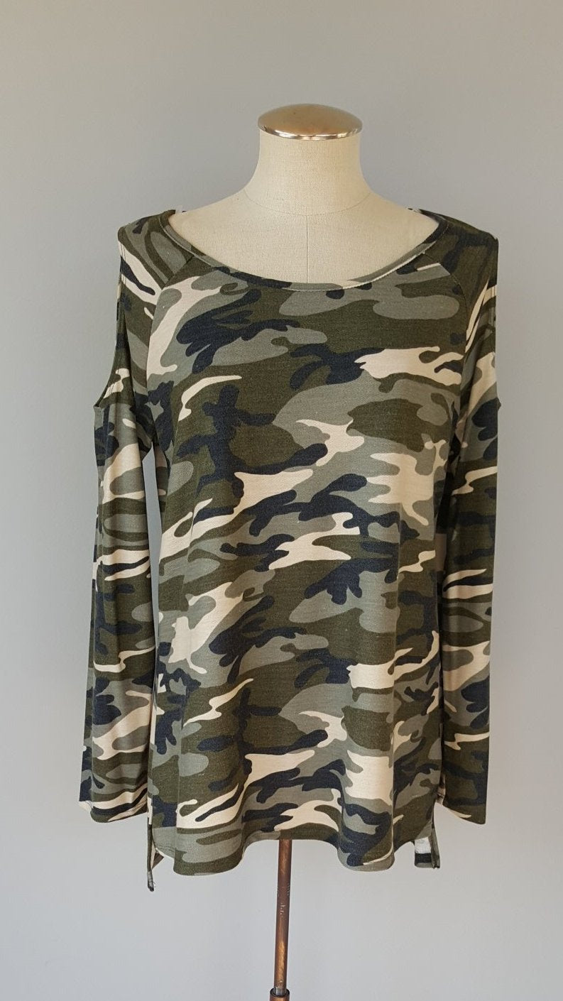 Camo Top with Cold Shoulder Detail