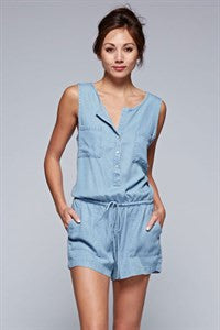 Denim Romper with Pockets