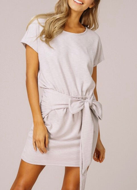 Front Tie Ribbed Dress