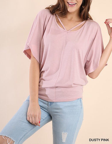 Dolman Short Sleeve Top with Strappy Neckline