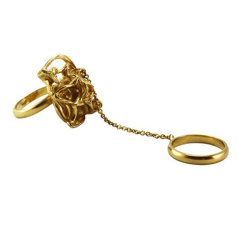 Chain Ring Liquid Gold