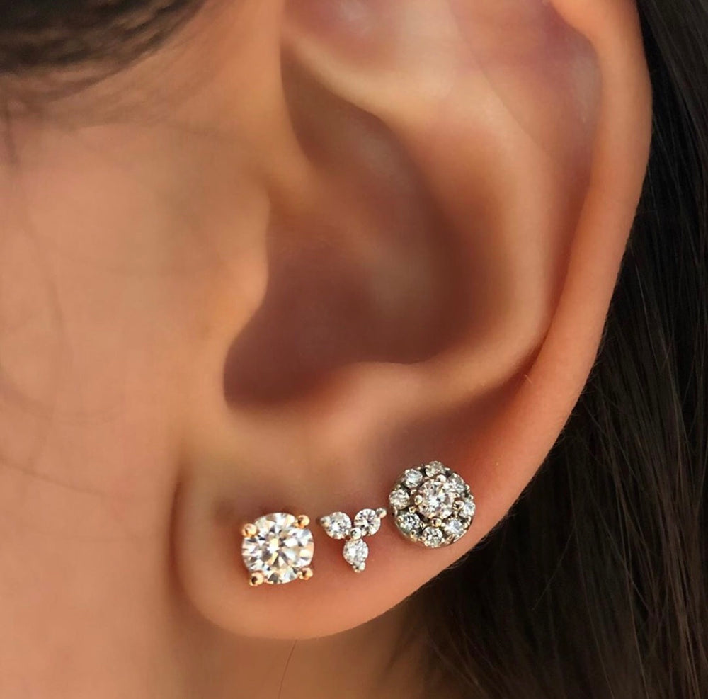 Aretes de Diamantes con Halo de Diamantes