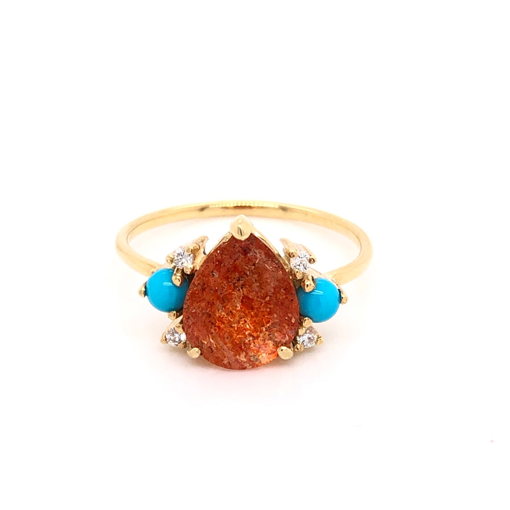 Anillo de Sunstone, Turquesa y Diamantes