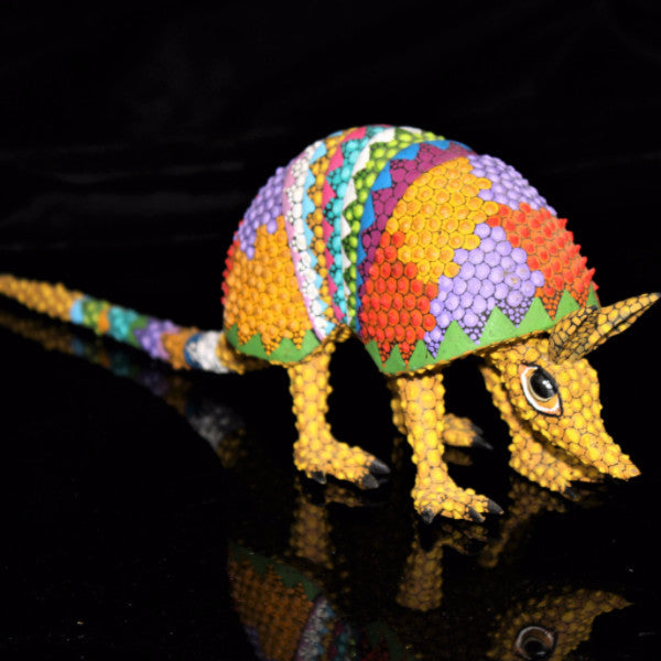 Oaxacan Carved Wood 3317---Tribes Mixes Bumpy Armadillo