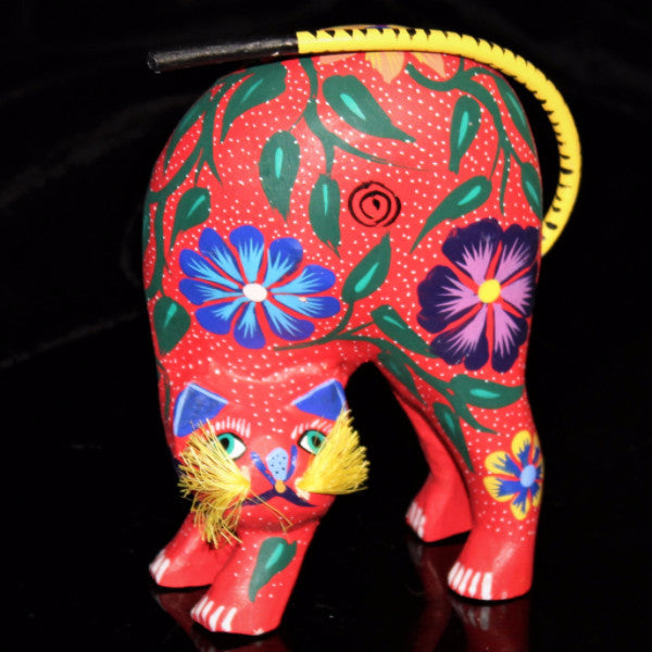 Oaxacan Carved Wood 3326--Red Kitty