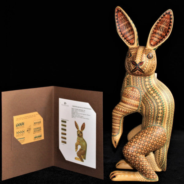 Oaxacan Carved Wood 3313--Jacobo Angeles Standing Rabbit