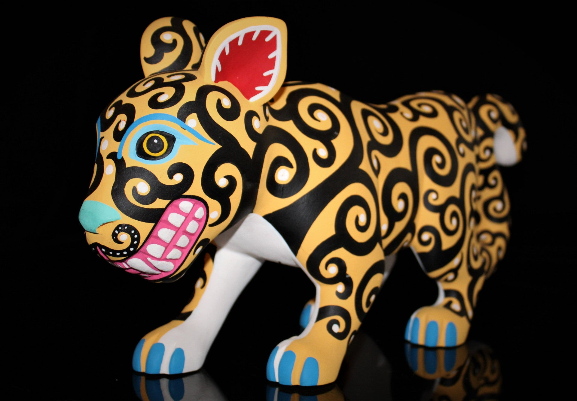 Oaxacan Carved Wood 3309---Luis Pablo Grinning Jaguar