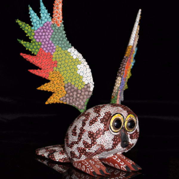 Oaxacan Carved Wood 3323---Tribes Mixes Google-Eyed Owl