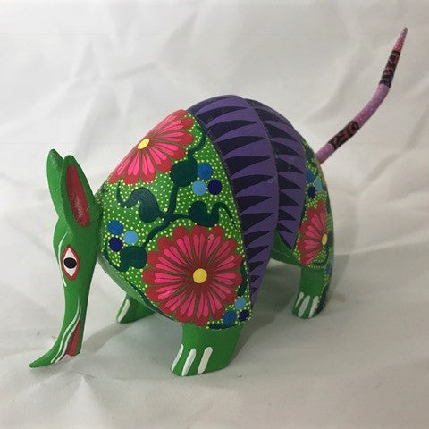 Oaxacan carved wood 3335--Flowered Armadillo