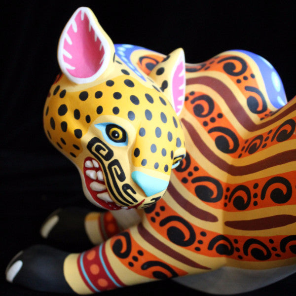 Oaxacan Carved Wood 3308----Luis Pablo Golden Jaguar