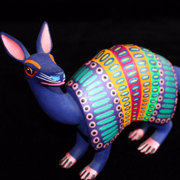 Oaxacan Carved Wood 3311---Luis Pablo Rainbow Armadillo