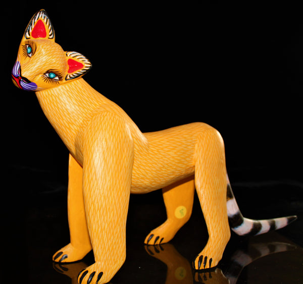 Oaxacan Carved Wood 3349--Curious Yellow Lion