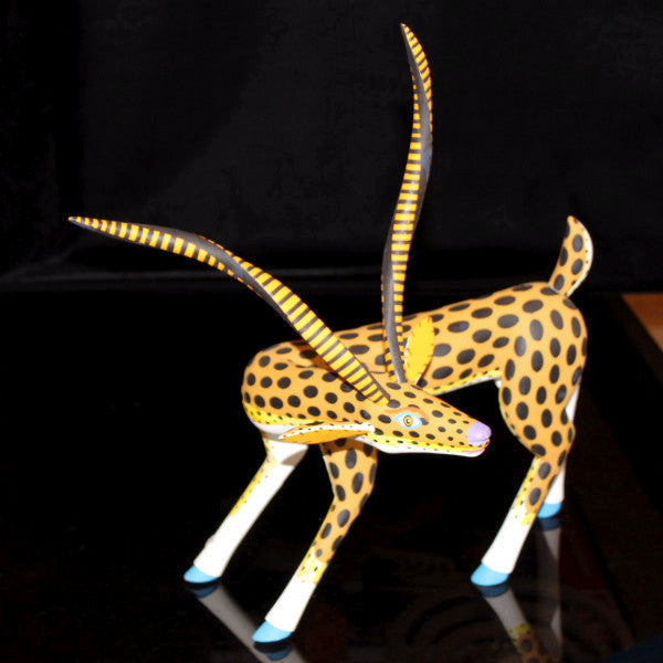 Oaxacan Carved Wood 3310---Luis Pablo Golden Gazelle
