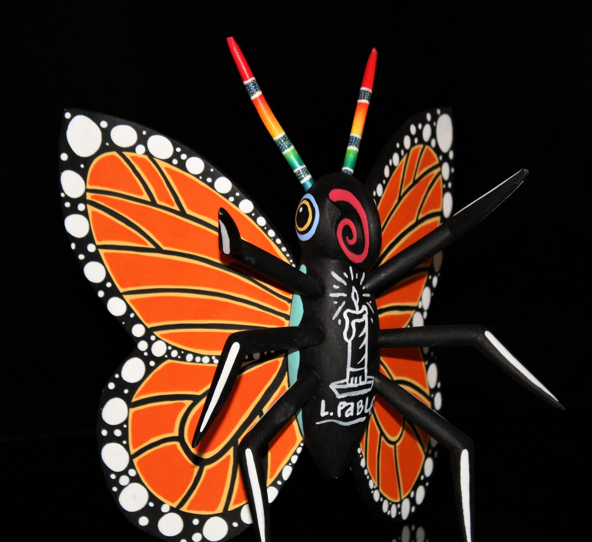 Oaxacan Carved Wood 3301--- Luis Pablo Orange Butterfly