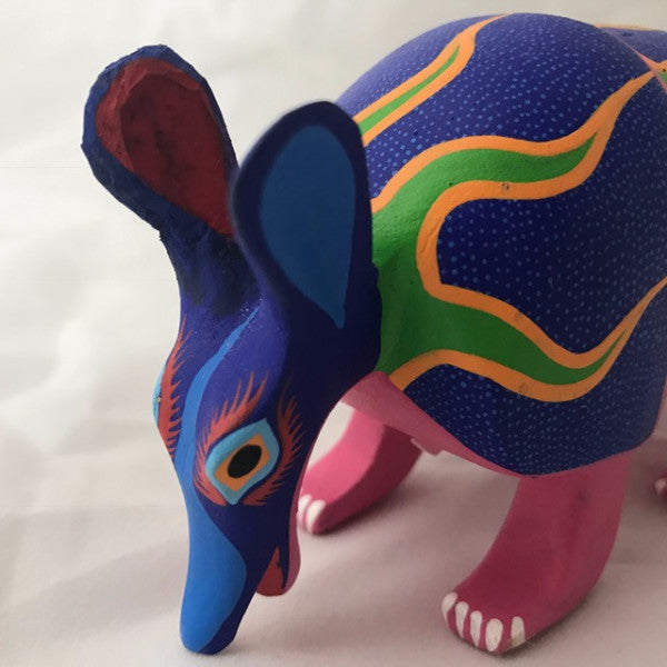 Oaxacan Carved Wood 3337---Flaming Armadillo
