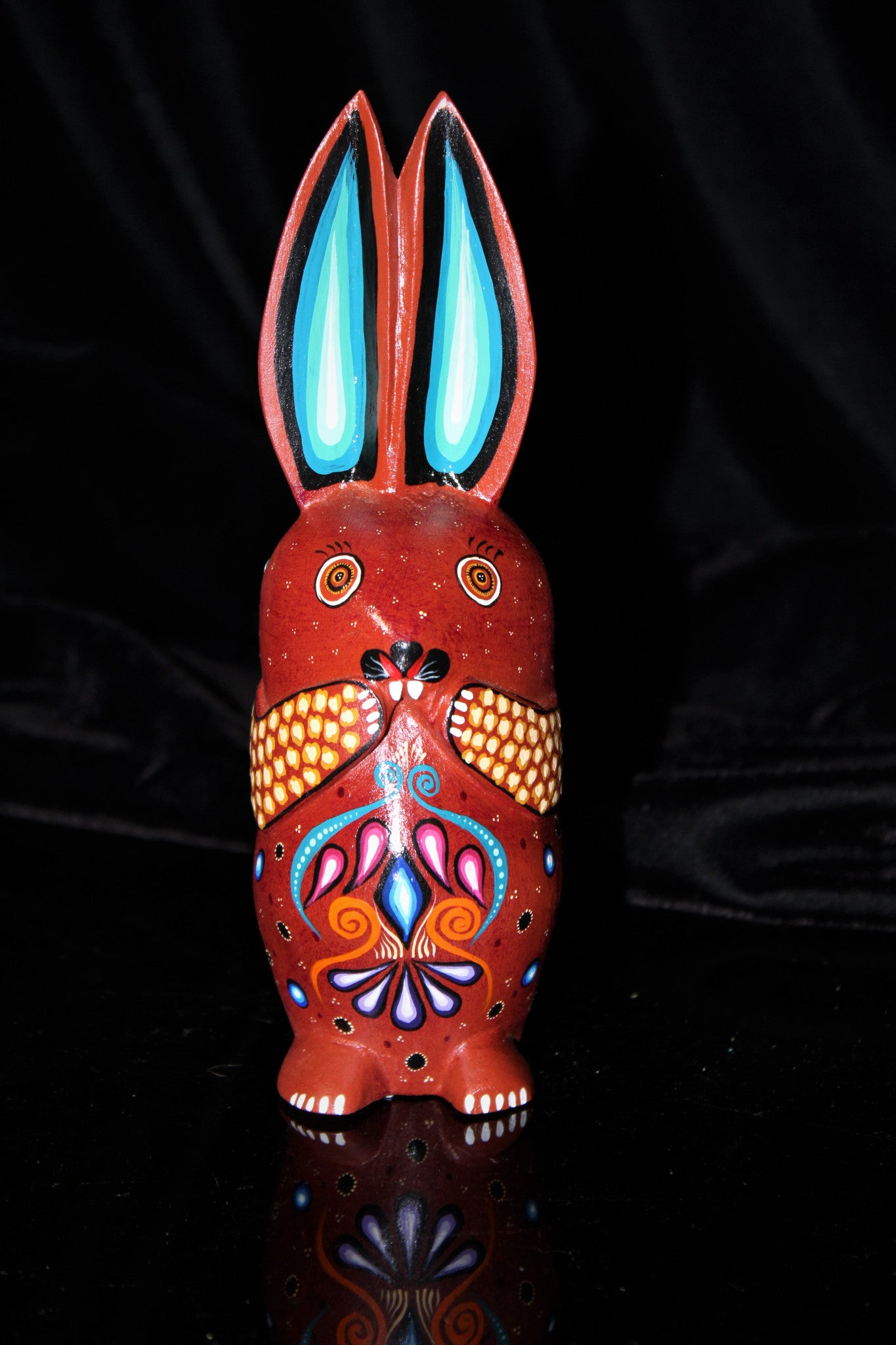 Oaxacan Carved Wood 3329--Red Bunny