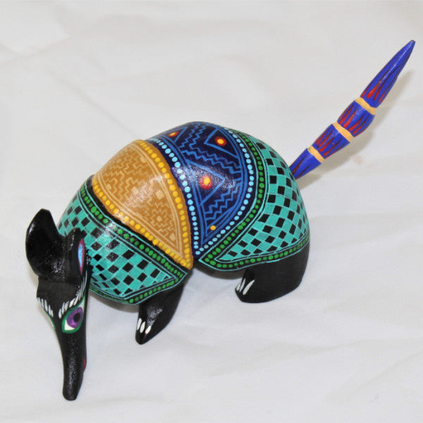 Oaxacan carved wood 3344---Checkered Armadillo