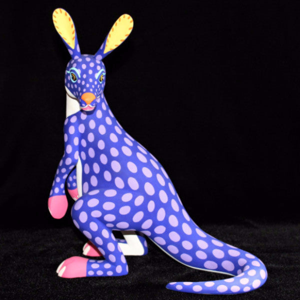 Oaxacan Carved Wood 3303---Luis Pablo Purple Kangaroo