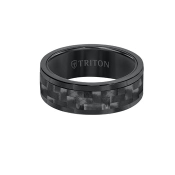 Triton HIGH VELOCITY RING for Men in Black Tungsten and Carbon Fiber