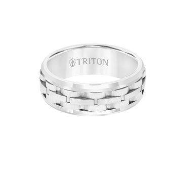 Triton TRACKS RING White Tungsten Carbide Mens Ring Band