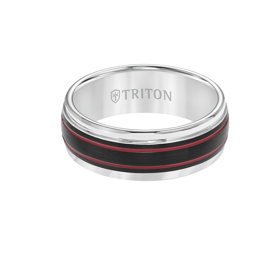 Triton FLARE RING White Tungsten Carbide Mens Ring with Red Stripes
