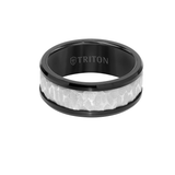Triton BLACK FROST RING Tungsten Carbide Mens Ring with Textured Center