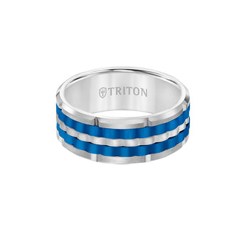 Triton ELECTRON RING Blue and White Tungsten Carbide Ring for Men