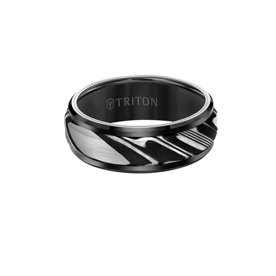 Triton WOOTZ RING Black Tungsten Carbide and Damascus Steel Mens Ring
