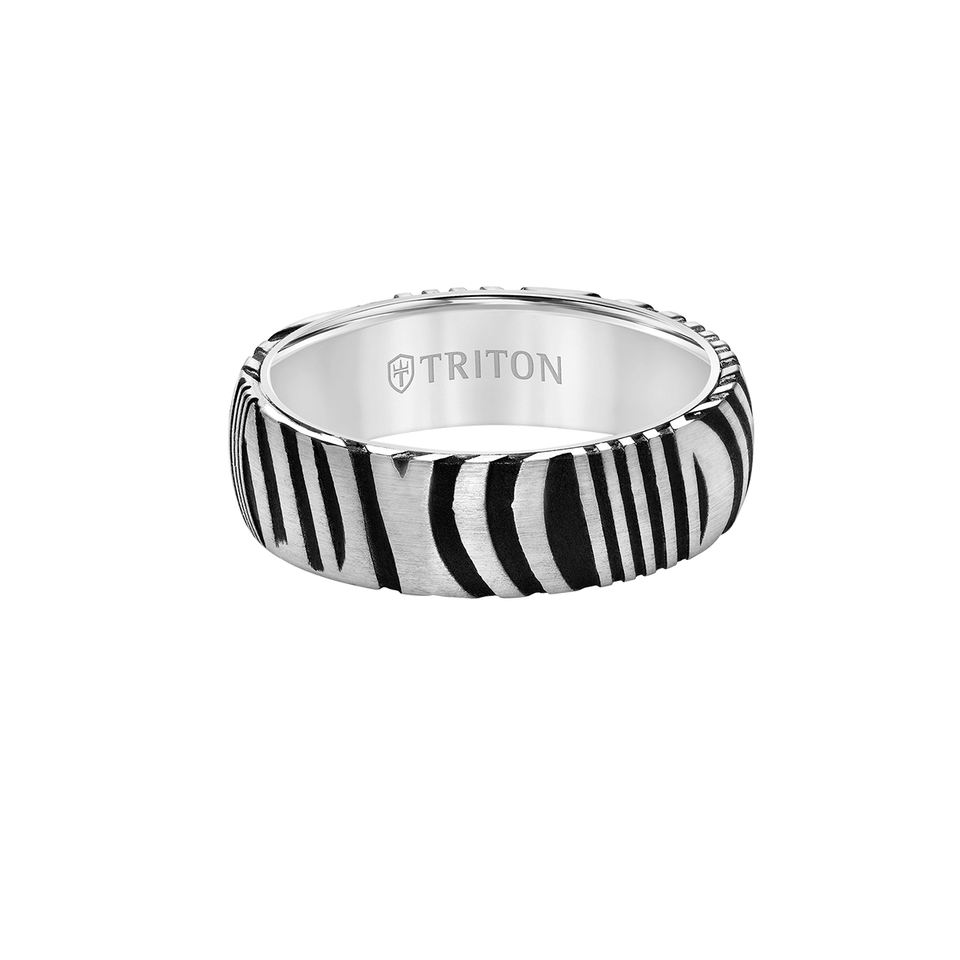 Triton WHITE TIGER RING Tungsten Carbide and Damascus Steel Mens Ring