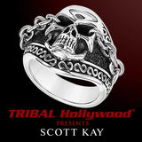 Scott Kay UNKAGED SKULL Chained Eyes Sterling Silver Mens Skull Ring