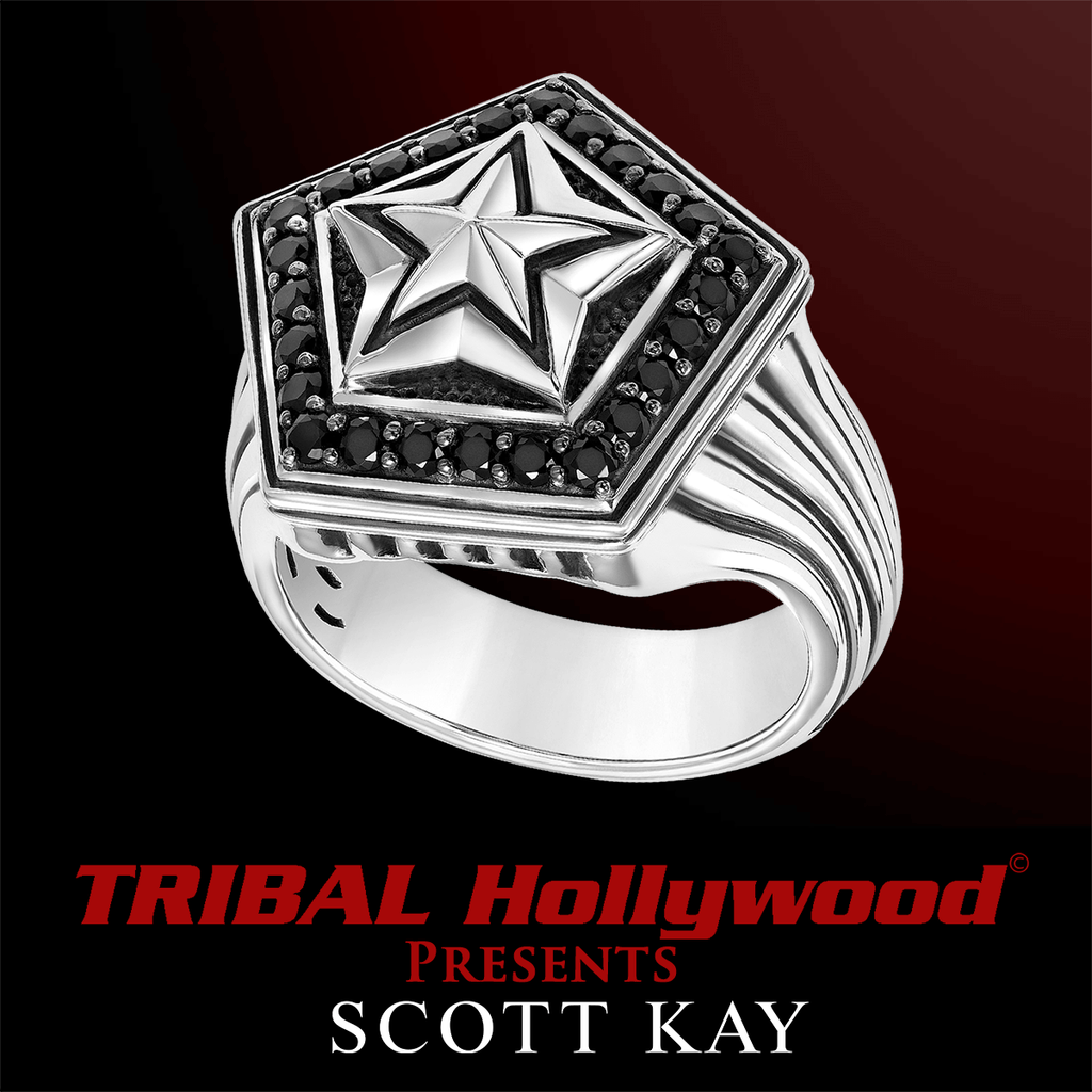 6549ad2c2 SILVER STAR Silver and Black Sapphire Mens Ring by Scott Kay