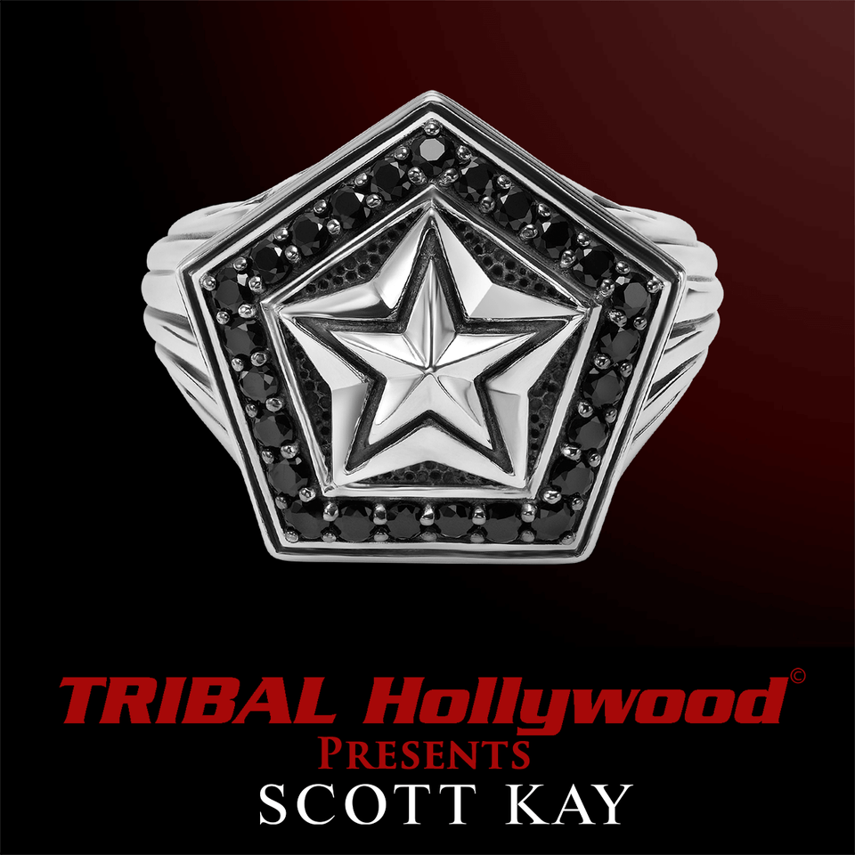7460d56ba SILVER STAR Black Sapphire and Silver Ring for Men by Scott Kay