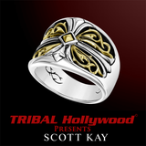 SPARTA CROSS RING Silver Scott Kay Mens Ring with 18k Gold Center