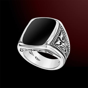 Scott Kay BLACK MIRROR Sparta Vine Sterling Silver Mens Ring with Black Onyx