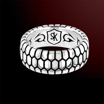 Scott Kay SNAKESKIN RING Sterling Silver Band Ring for Men