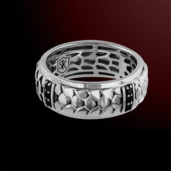 PLATEMAIL RING Scott Kay Sterling Silver Mens Band Ring with Black Sapphires