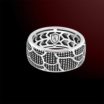 SNAKE SCALE Mens Sterling Silver Band Ring by Scott Kay