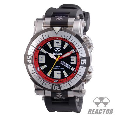 Reactor Watches POSEIDON BLACK AND RED Dive Watch in Stainless Steel With Rubber Strap | Tribal Hollywood