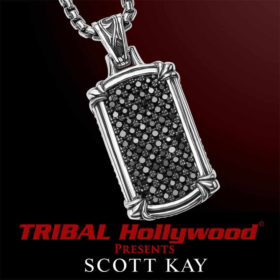 BLACK SAPPHIRE LARGE DOG TAG Sterling Silver Necklace by Scott Kay