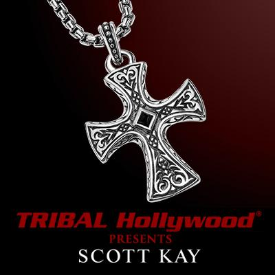 Scott Kay MEDIEVAL CROSS Sterling Silver Mens Necklace w Onyx Inlay