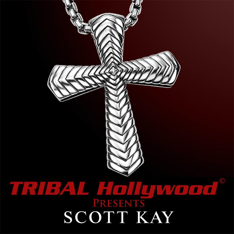 d17482c869a264 THE CHEVRON CROSS Sterling Silver Pendant and Chain by Scott Kay