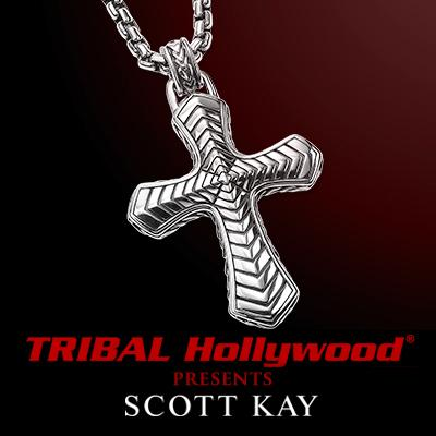 Scott Kay CHEVRON CROSS Sterling Silver Pendant Necklace