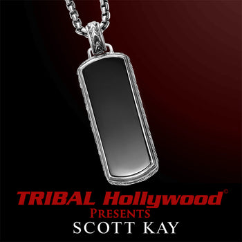 BLACK ONYX DOG TAG Sterling Silver Pendant Chain for Men by Scott Kay